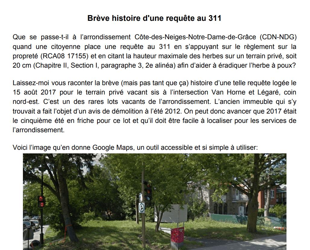 Brève histoire d'une plainte au 311