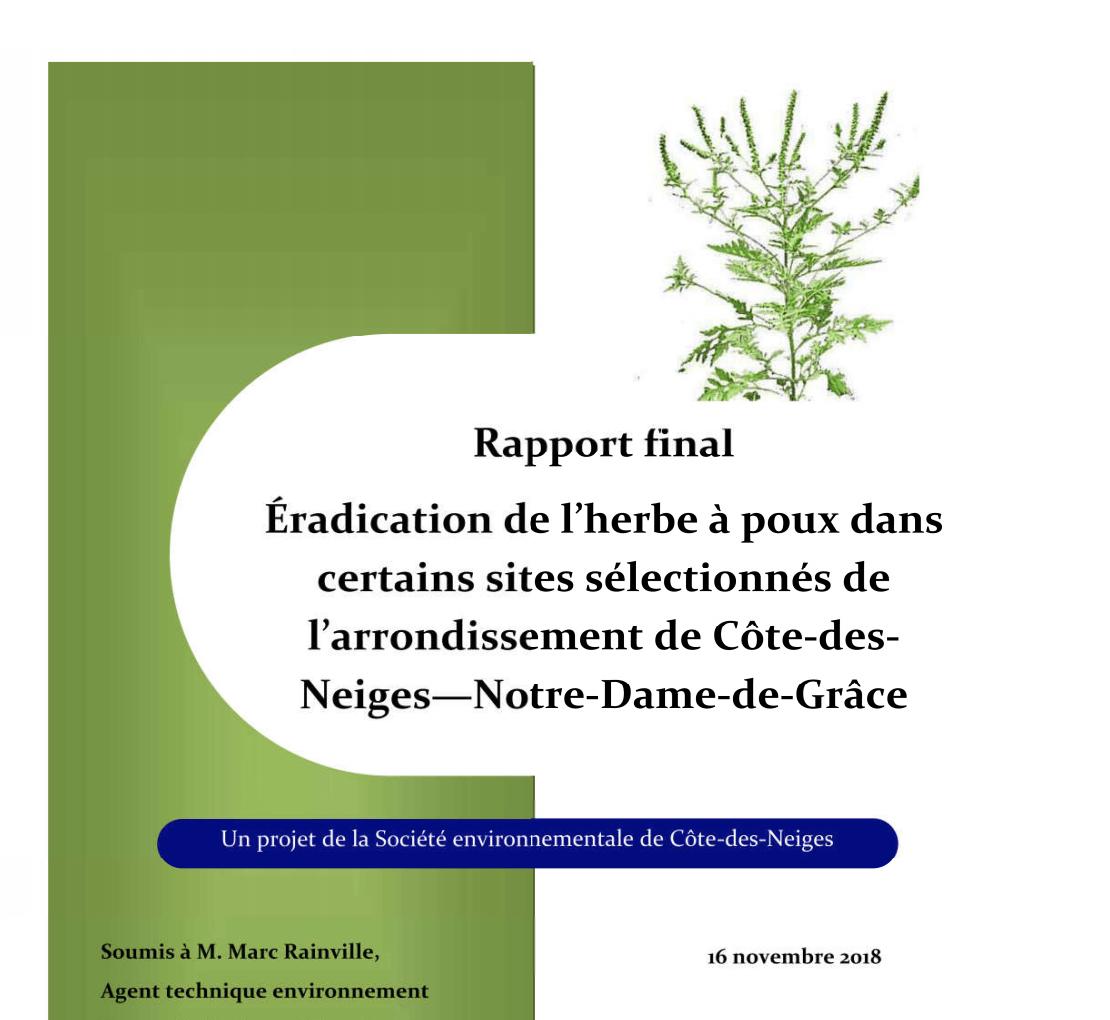 Rapport de la Socenv et de l'Éco-quartier CDN_NDG pour 2018