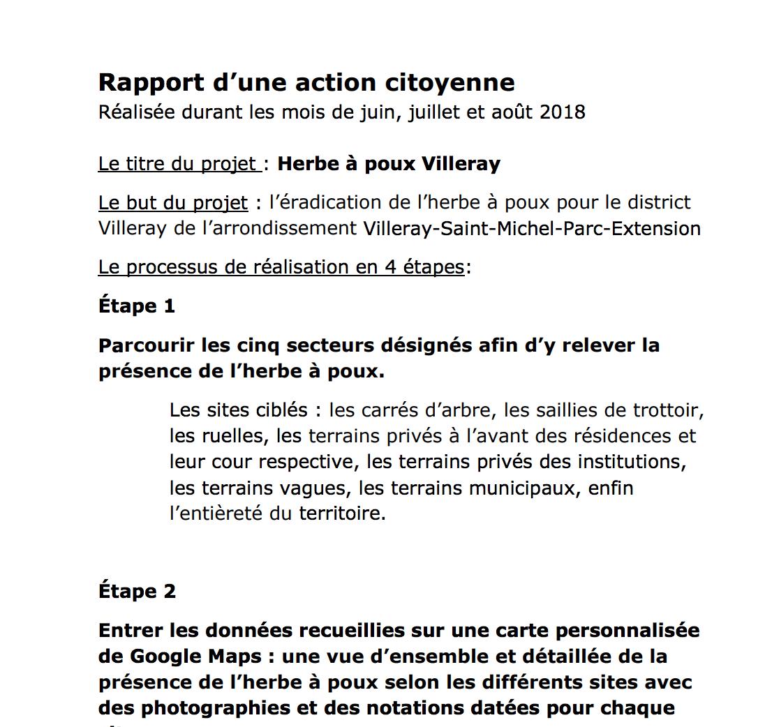 Rapport de la citoyenne Thérèse Nadeau pour Villeray