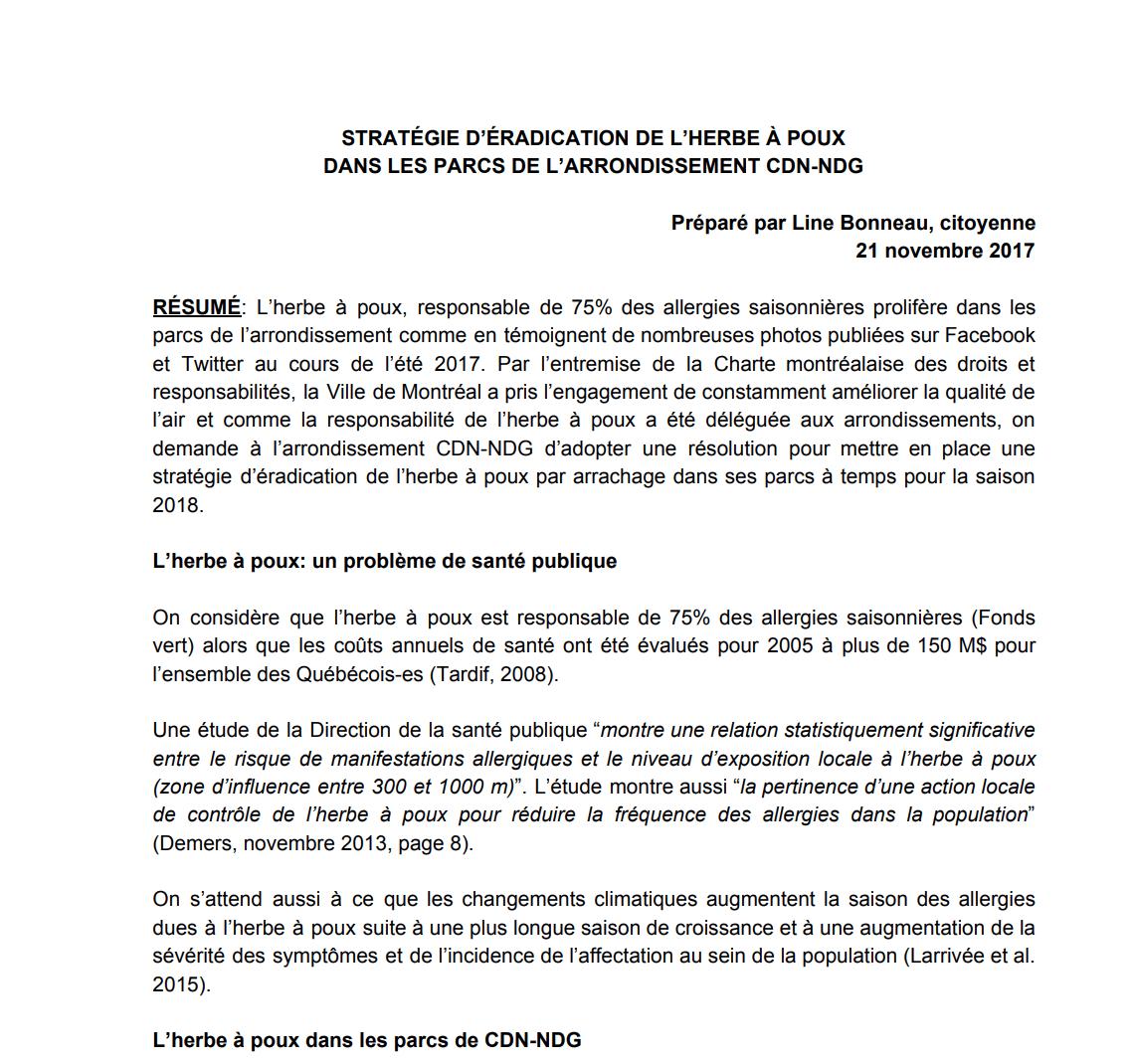 Stratégie d'éradication proposée dans CDN-NDG par Line Bonneau